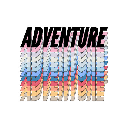 slogan ADVENTURE AWAITS phrase graphic vector Print Fashion lettering Ilustração Vetorial