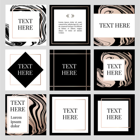 templates Frame square fluide art Gold Fashion Text