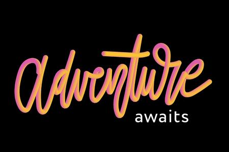 slogan ADVENTURE AWAITS phrase graphic vector Print Fashion lettering