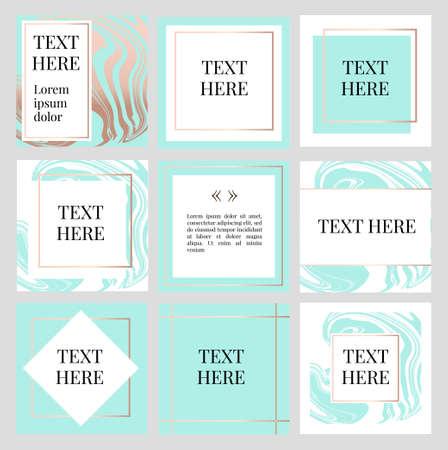 Vorlagen Rahmen quadratische Fluidkunst Gold Fashion Text