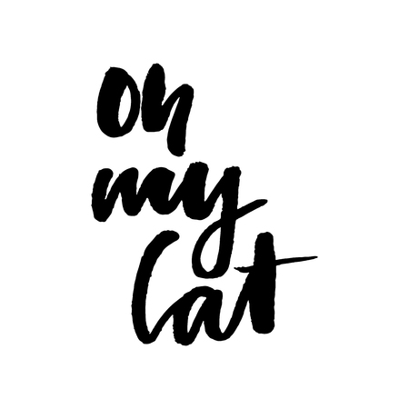 slogan Oh my cat graphic vector Print Fashion lettering Ilustracja