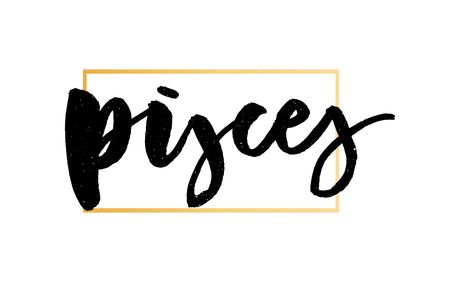 Pisces lettering Calligraphy Brush Text horoscope Zodiac sign illustration  イラスト・ベクター素材