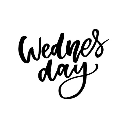 Wednesday. It s like a middle finger of the week. Brush Lettering Vector Illustration Design. Social media typography funny content. Fun for calendar template, planner, journal. Ilustração