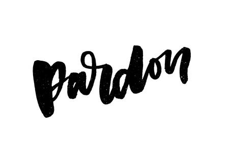 slogan Pardon Sticker for social media content. hand drawn illustration design. Standard-Bild - 112752444