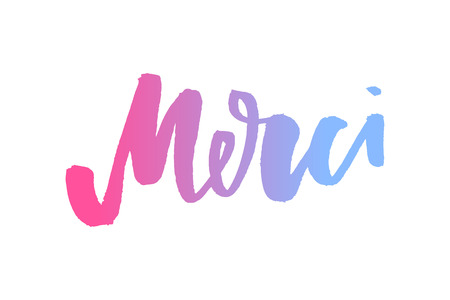 Merci. French word meaning thank you. Custom hand lettering for your design. Can be printed on greeting cards, paper and textile designs Ilustração