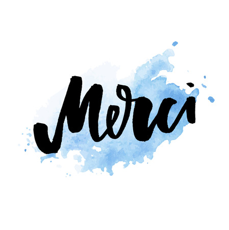 Merci. French word meaning thank you. Custom hand lettering for your design. Can be printed on greeting cards, paper and textile designs Illustration