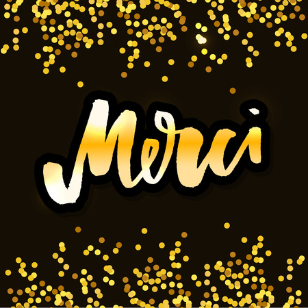Merci. French word meaning thank you. Custom hand lettering for your design. Can be printed on greeting cards, paper and textile designs Illusztráció