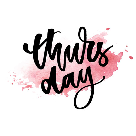 Thursday, weekend is almost here. Quote design. Modern brush calligraphy. Lettering and custom typography for t-shirts, bags, posters, invitations, cards. Sticker for social Ilustracja