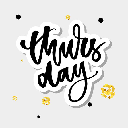 Thursday, weekend is almost here. Quote design. Modern brush calligraphy. Lettering and custom typography for t-shirts, bags, posters, invitations, cards. Sticker for social Illustration