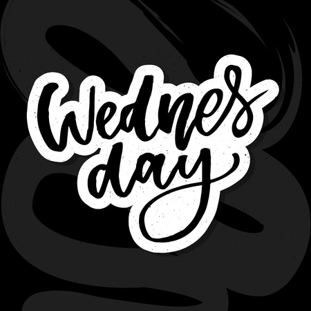 Wednesday. It s like a middle finger of the week. Brush Lettering Vector Illustration Design. Social media typography funny content. Fun for calendar template, planner, journal. Illusztráció