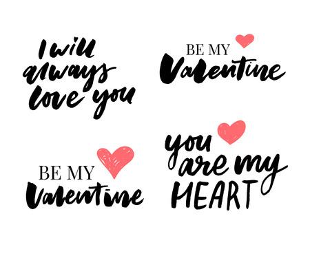 Valentijnsdag set symbolen. Kalligrafie. Vector illustratie. Grijs op witte achtergrond slogan