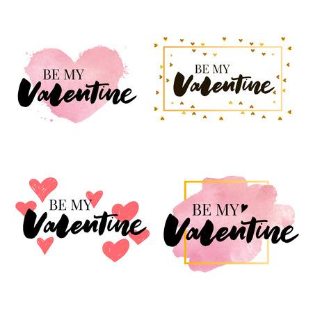 Collection of pink, black, white colored Valentines day card, sale and other flyer templates with lettering. Typography poster, card, label, banner design set. Vector illustration EPS10 Ilustração