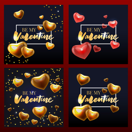 Collection of pink, black, white colored Valentine's day card, sale and other flyer templates with lettering. Typography poster, card, label, banner design set. Vector illustration