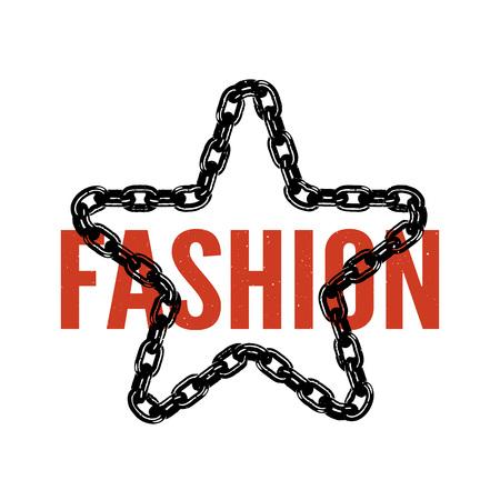 typography slogan for fashion t shirt chain black.