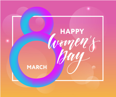 Woman s Day text design Vector illustration. Woman s Day greeting calligraphy design in pink colors. Template for a poster, cards, banner.