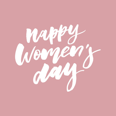 March 8 Happy womans day watercolor lettering greeting card. Vector illustration Illustration
