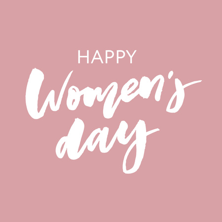 Woman s Day text design with flowers and hearts on square background. Vector illustration. Woman s Day greeting calligraphy design in pink colors.