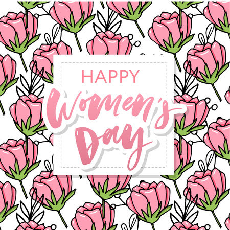 Happy womens day postcard. Translation from Russian: March 8 International Womens Day. Party invitation or festive banner template with elegant lettering, wild pink rose flowers