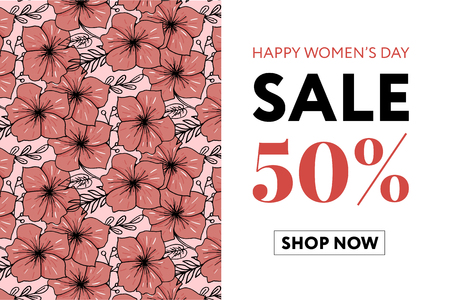 Flowers beautiful floral vector art watercolor sale banner style for 8 March, Mother's Day Women's day.
