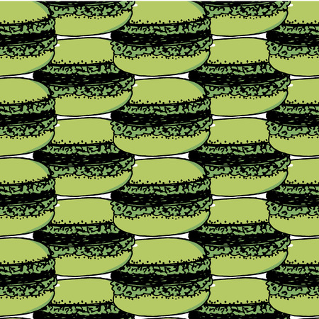 pattern with colorful macaroon cookies on white. Vector illustration.
