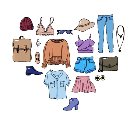 Set clothes icons, thin line style Illustration