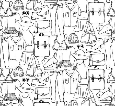 Ręcznie rysowane zimowe ubrania z dzianiny. Wektor wzór