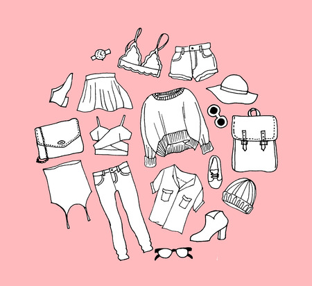 Set clothes icons, thin line style sale Illustration