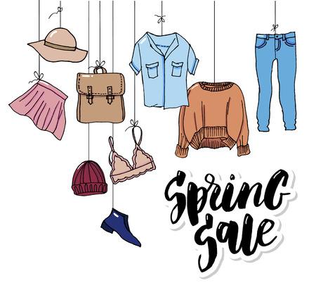 Impostare le icone dei vestiti, vendita in stile linea sottile Vettoriali
