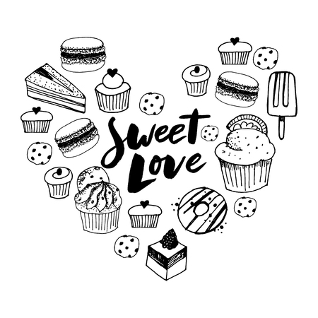 Sketch set of dessert. Pastry sweets collection isolated on white background. Hand drawn vector illustration. Retro