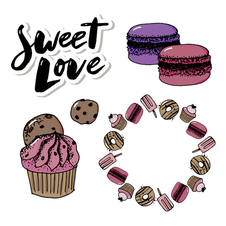 Vector set confectionery and sweets icons. Dessert, lollipop, ice cream with candies, macaron and pudding. Donut and cotton candy, muffin, waffles