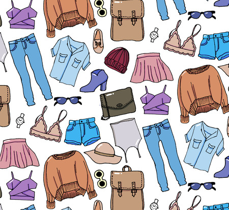 Hand drawn winter knitted clothes set . Vector pattern