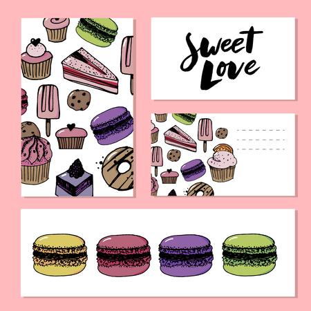 Bakery shop or pastry patisserie banners and posters templates set. Vector dessert cakes and pastry cupcakes, chocolate biscuits or brownie and tiramisu, fruit pies and puddings or ice cream