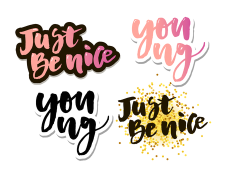 Forever young, motivational lettering quote. Modern ink calligraphy for typography greeting card, save the date card or t-shirt Vector Illustration