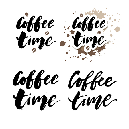 It's coffee time phrase. Ink illustration. Modern brush calligraphy. Isolated on white background
