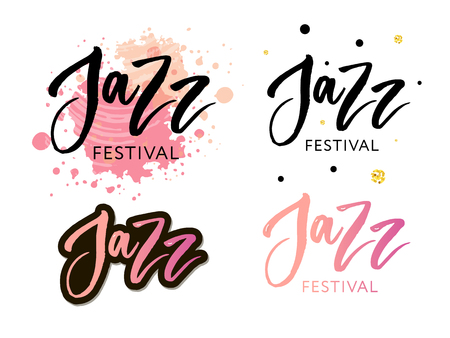 Hand drawn lettering quotes about Jazz festival collections isolated on the white background. Fun brush ink vector calligraphy illustrations set for banners Stockfoto - 124408280