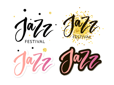 Hand drawn lettering quotes about Jazz festival collections isolated on the white background. Fun brush ink vector calligraphy illustrations set for banners Stockfoto - 124339346