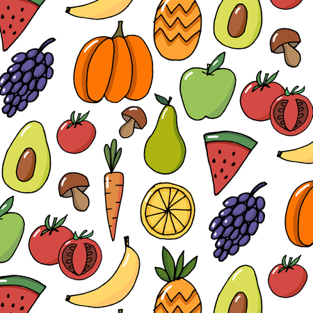 Fruit hand drawn vector pattern