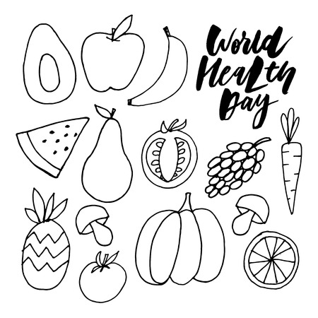 Hand sketched text 'World Health Day' on textured background. Celebration hand drawn text for postcard, card, banner template. Vector lettering typography.