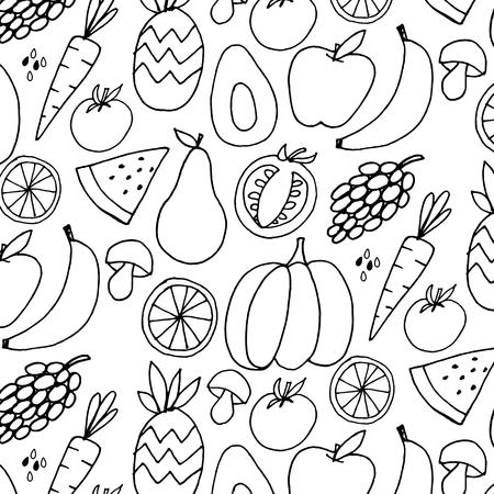 Fruit hand drawn vector pattern
