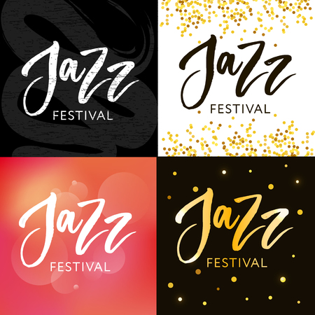 Hand drawn lettering quotes about Jazz festival collections isolated on the white background. Fun brush ink vector calligraphy illustrations set for banners