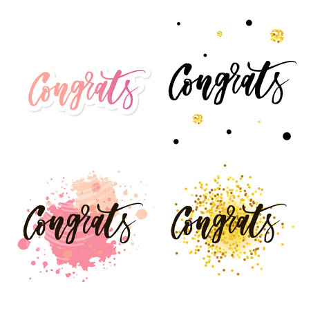 Congrats lettering. Handwritten modern calligraphy, brush painted letters. Inspirational text, vector illustration. Template for banner, poster, flyer