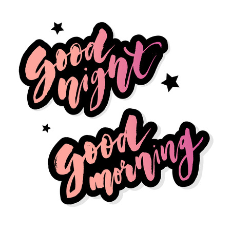 Good Morning Good Night lettering text vector illustration