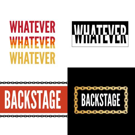 Backstage Amour slogan modern Fashion Slogan for T-shirt graphic vector Print set