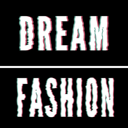 Dream Fashion slogan, Holographic and glitch typography, tee shirt graphic Vettoriali