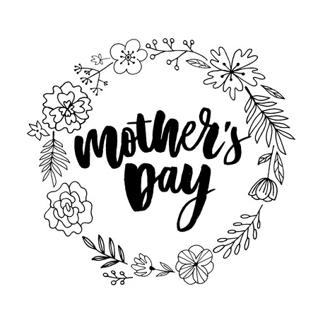 Happy Mothers Day elegant typography pink banner. Calligraphy text and heart in frame on red background for Mother's Day. Best mom ever vector Archivio Fotografico - 123770766