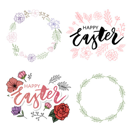 Easter frame with easter eggs hand drawn black on white background. Decorative frame from eggs. Easter eggs with colorful leaves and watercolor dot 일러스트