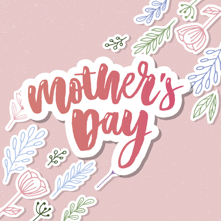 Happy Mothers Day elegant typography pink banner. Calligraphy text and heart in frame on red background for Mothers Day. Best mom ever vector