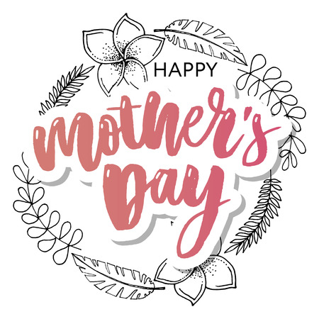Happy Mothers Day elegant typography pink banner. Calligraphy text and heart in frame on red background for Mother's Day. Best mom ever vector