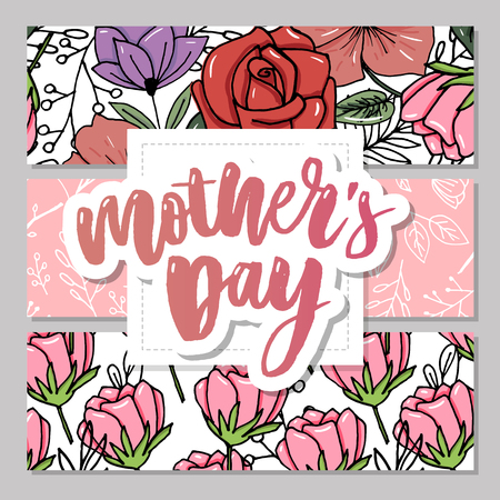 Happy Mother's Day elegant typography pink banner. Calligraphy text and heart in frame on red background for Mother's Day. Best mom ever vector Vettoriali
