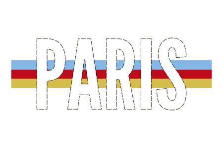 Paris skecth drawing modern Fashion Slogan for T-shirt Banque d'images - 122877933